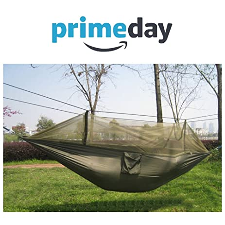 wangqiang 2 person camping hammock parachute jungle hammock with mosquito  s  army green  amazon    wangqiang 2 person camping hammock parachute jungle      rh   amazon