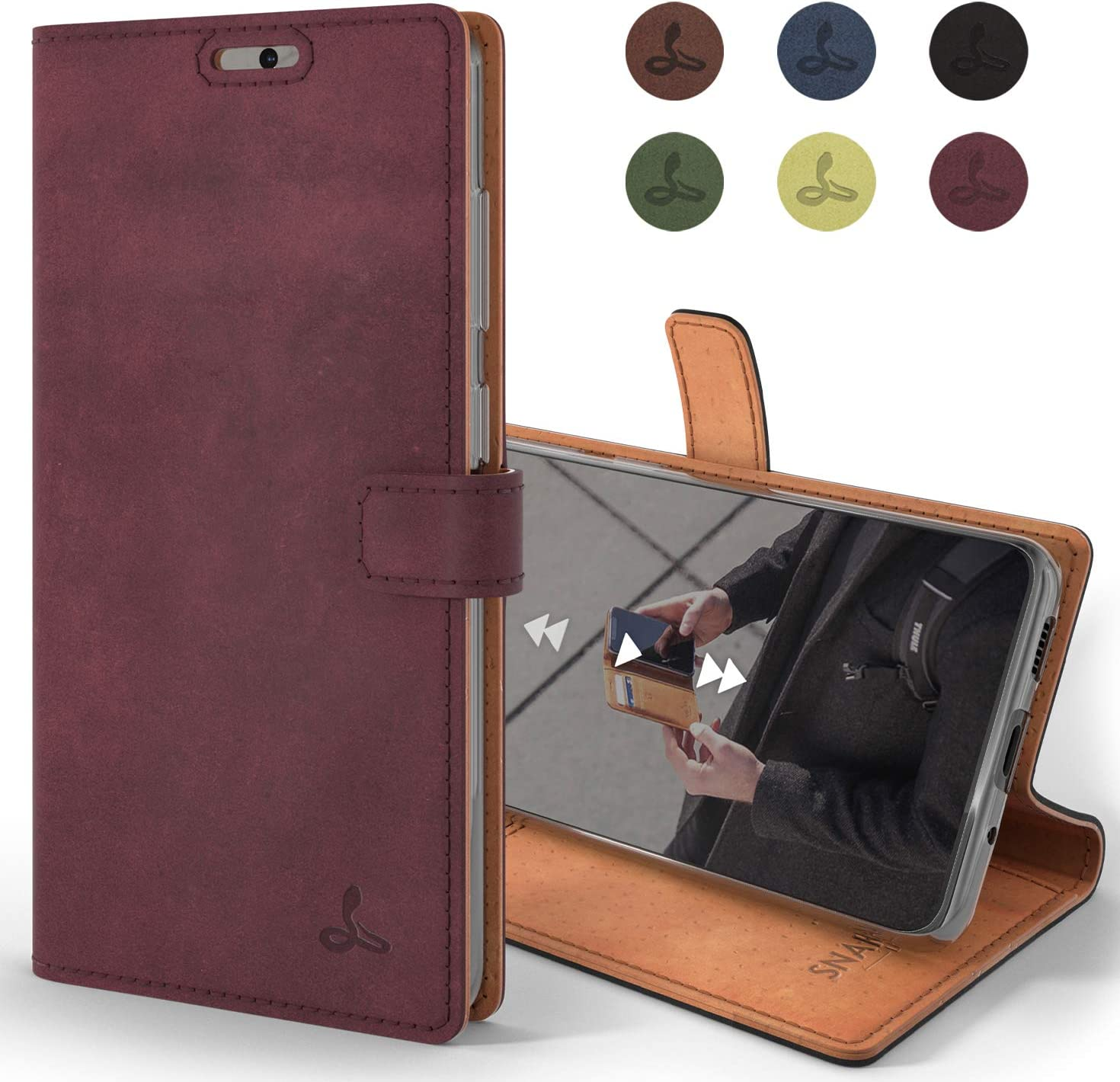 Snakehive Samsung Galaxy S20 Ultra Case Genuine Leather Wallet with Viewing Stand and Card Slots Plum Flip Cover Gift Boxed and Handmade in Europe for Samsung Galaxy S20 Ultra -