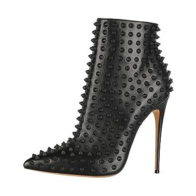 cee0b91d98 FSJ Women Fashion High Heel Ankle Boots Rivets Pointed Toe Stilettos Zipper  Shoes Size 4 Black