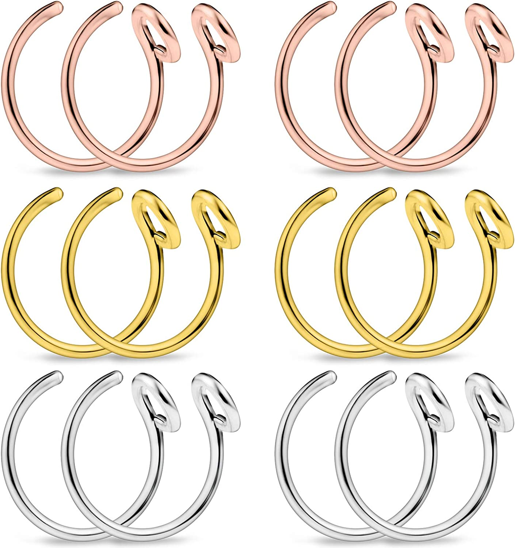 12 Pieces 8mm Lcolyoli Fake Nose Rings Hoop Surgical Steel Tribal Faux Clip On Earrings Nostril Hoop Ring Body Jewelry Piercing Women Men 20 Gauge 5//16