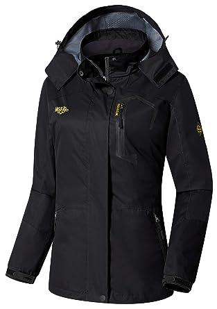fcb071817 Wantdo Women's Sports Outdoor Hooded Softshell Rain Jacket Waterproof Jacket  Black