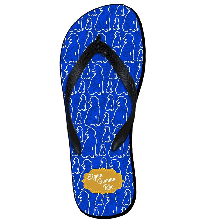 1cbd6353d912 Amazon.com  Greekgear Sigma Gamma Rho Mascot Color Flip Flops Small   Clothing