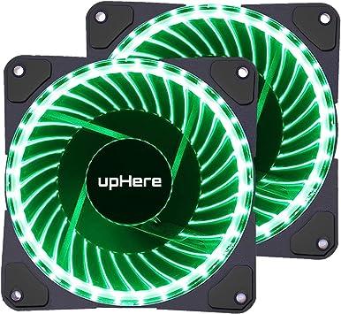 upHere - Ventilador LED Verde de 3 Pines, 120 mm, Alto Flujo de ...