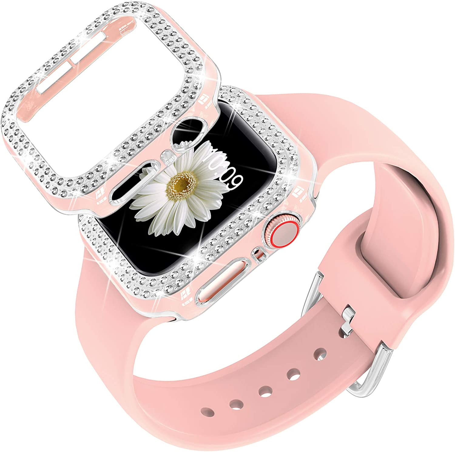 DABAOZA Compatible for Apple Watch Band 40mm 44mm with Glitter Bumper Case, Women Silicone Soft Comfortable Adjustable Strap with Buckle for iWatch SE Series 6/5/4