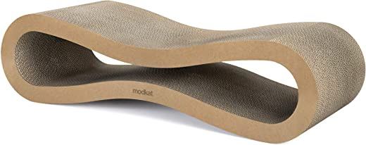 Modkat Scratcher Lounge. High-Grade Cardboard, Reversible. Large (30L X 10.6H in.) and Small (26.6L X 7H in.) Sizes.