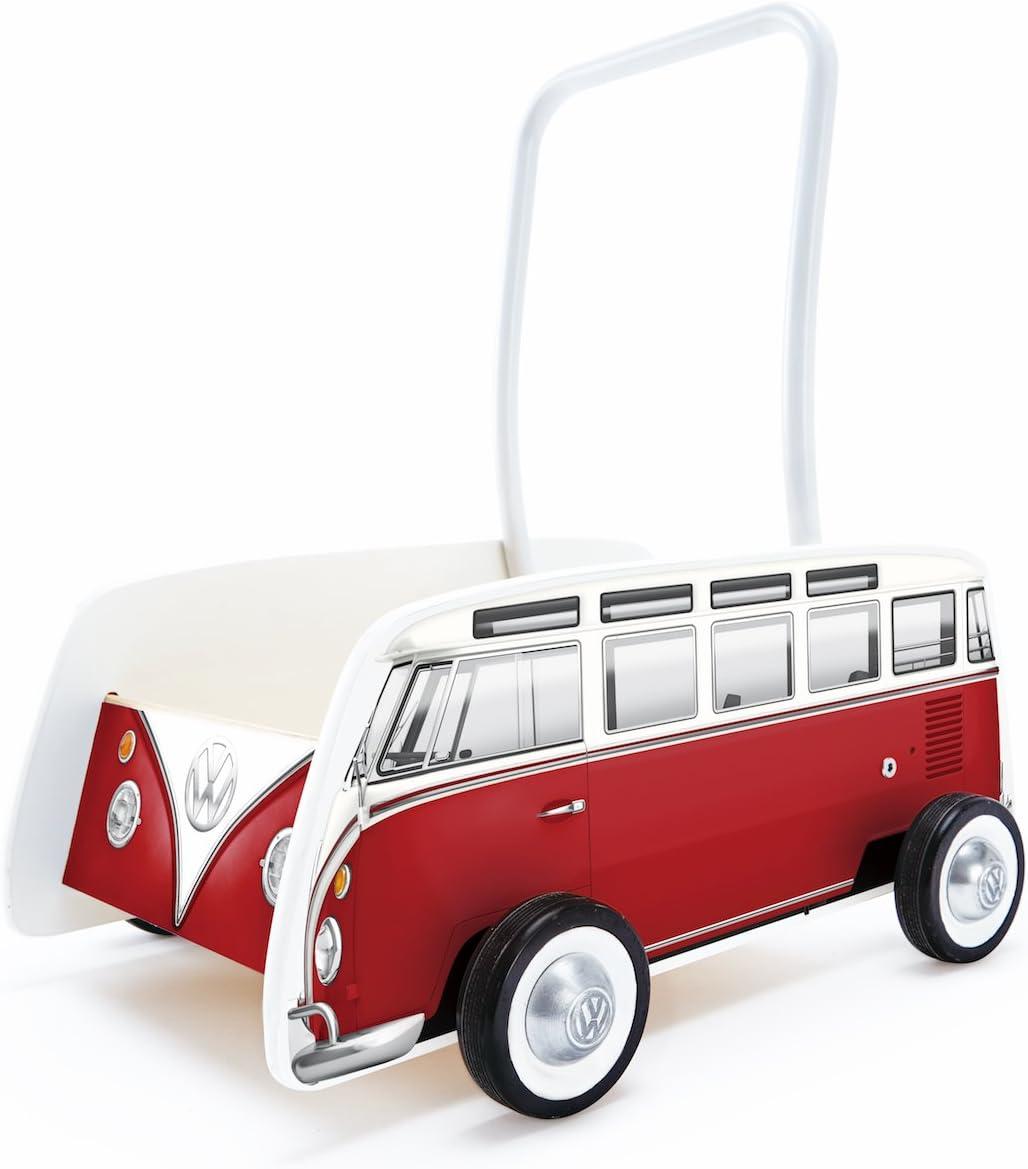 Hape- Andador bebé Furgoneta Volkswagen, Color Rojo (Barrutoys E0379)