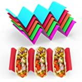 GINKGO Colorful Taco Holders set of 6, Taco Holder Stand with Handle Can Hold 2 or 3 Tacos Each, BPA Free Healthy PP Material