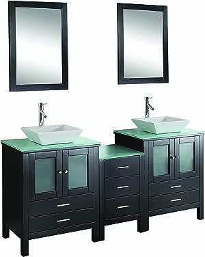 Virtu USA Brentford 72 inch Double Sink Bathroom Vanity ...