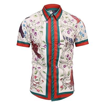 PIZOFF Men's Short Sleeve Luxury Print Button Dress Shirt: Clothing