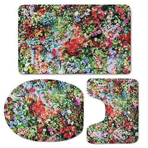 Showudesigns Different Floral Style Toilet Lid Cover Anti-Slip Contour Mat