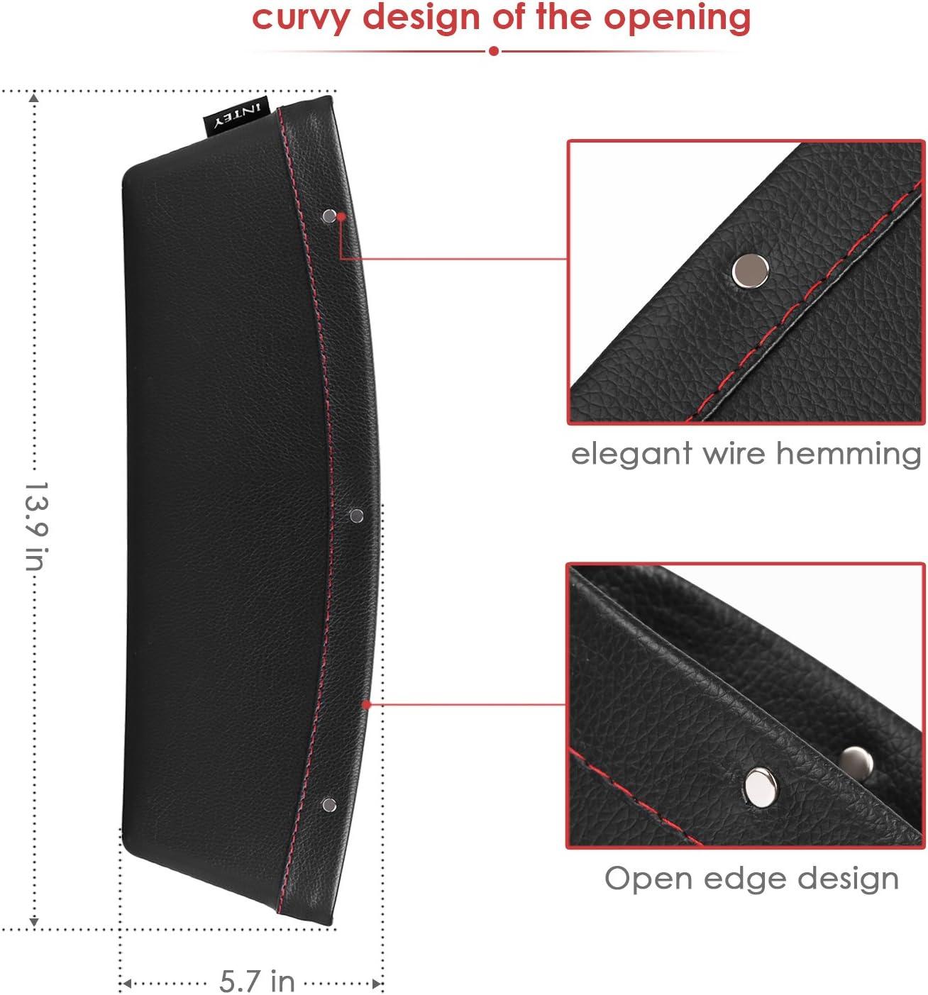 Black INTEY Car Pocket Organizer Car Seat Side Pocket 2 Pack Universal Car Slit Storage Organizer Seat Gap Filler