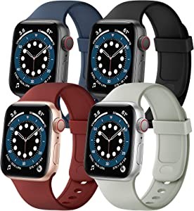 SVISVIPA Sport Bands Compatible with Apple Watch Bands 38mm 40mm, Soft Silicone Wristbands Women Men Replacement Strap for iWatch Series SE/6/5/4/3/2/1,Midnight Blue/Black/Wine Red/Stone