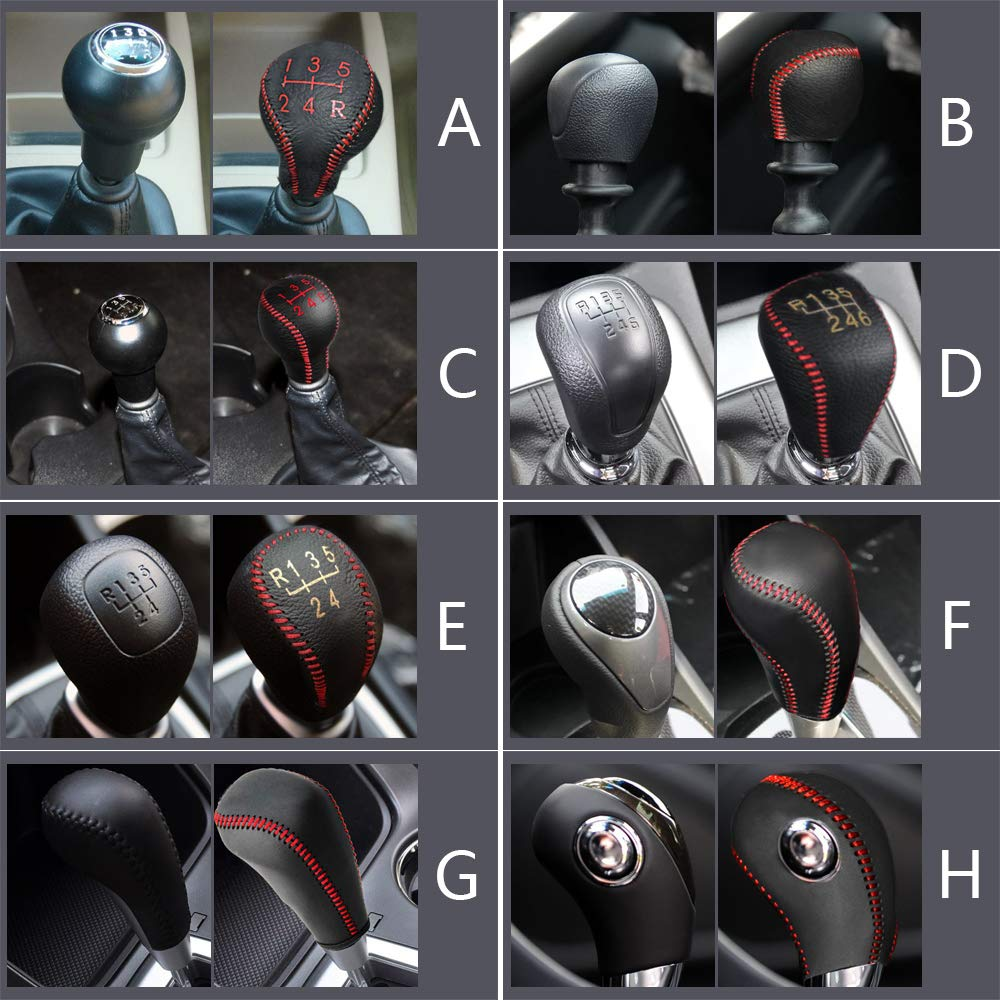 for at KIA Sportage R Carens K3 2013-2015 K4 2014-2015 Sorento 2013-2018 K5 2014-2015 Cadenza 2011-2013 Leather Car Gear Shift Knob Cover Non-Slip Gear Lever Stick Protector Black Type J