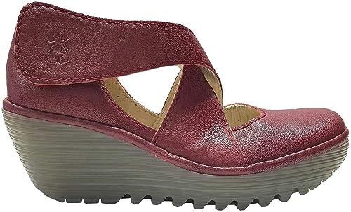 8972f310 Fly london Yogo Rojo Mujeres Cuero Cross Bar Wedge Zapatos: Amazon ...