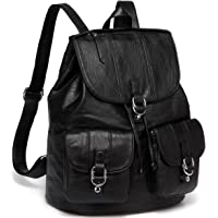 Backpack Purse for Women,VASCHY Fashion Faux Leather Buckle FlapDrawstring Backpack for College with Two Front Pockets