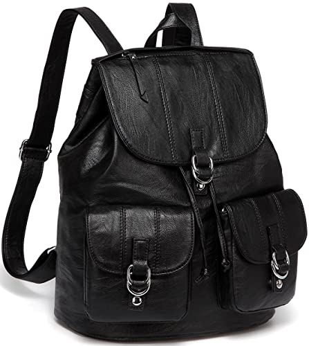 b0eb09ed1b2 Backpack Purse for Women,VASCHY Fashion Faux Leather Buckle Flap Drawstring  Backpack for College with Two Front Pockets