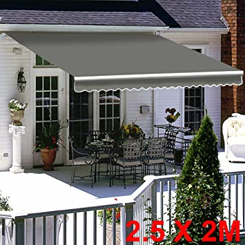 Greenbay Grey Diy Manual Patio Awning Retractable Gazebo Outdoor