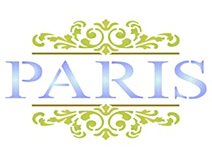 Paris Scroll Stencil - 7.5 x 4.5 inch (M) - Reusable Vintage French Themed Word Wall Stencils for Painting - Use on Paper Projects Scrapbook Journal Walls Floors Fabric Furniture Glass Wood etc.
