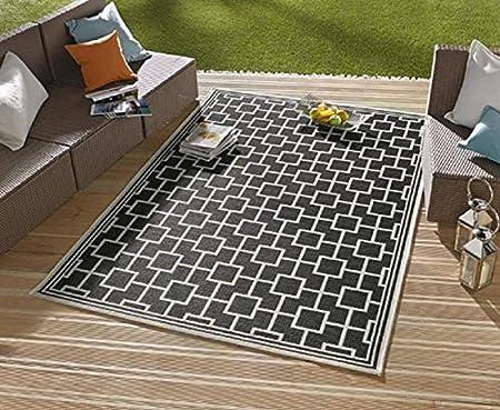 Alfombra/moderna alfombra/salón – Alfombra exterior – para balcón o terraza – para en Y Outdor Adecuado – La Atención a su jardín muebles – Royal Negro Cuadrados de aprox. 160 x 230 cm: Amazon.es: Hogar