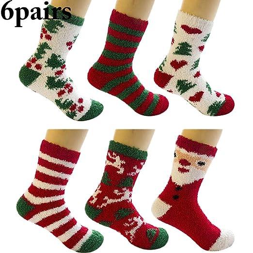 1c666c84b73 Amazon.com  Outgeek 6 Pairs Christmas Socks Assorted Types Winter ...