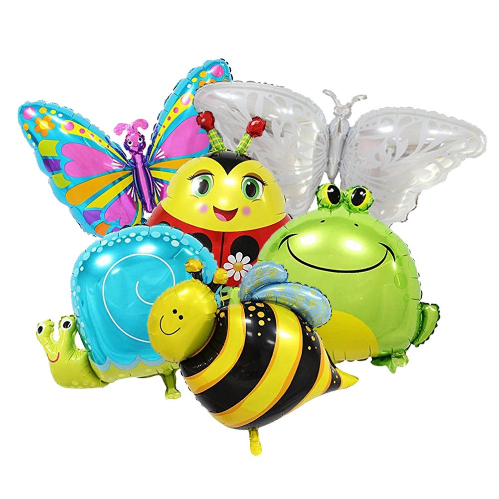 Sharlity Large Insect Balloons for Children's Birthday Party Decoration Supplies - Butterfly, Snail, Frog, Ladybird, Bee Foil Balloons (6 Pack)