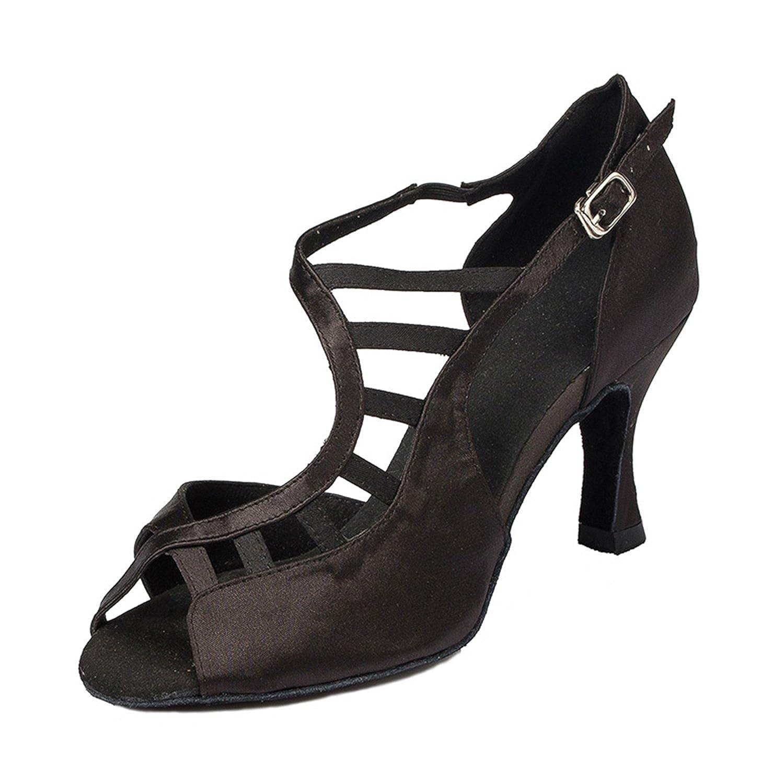 Minitoo à 3 cm-chaussures pour à danse-Chaussures talons pour femme en 13328 Satin pour Mariage Soirée danse-Chaussures Sandales-Latine Noir 461376f - therethere.space
