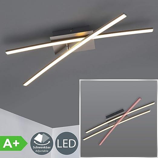Lámpara de techo moderna LED 2x11W I Color níquel mate I 2 placas de luz I metal y plástico I 230V IP20 I luz blanco cálido 3000K