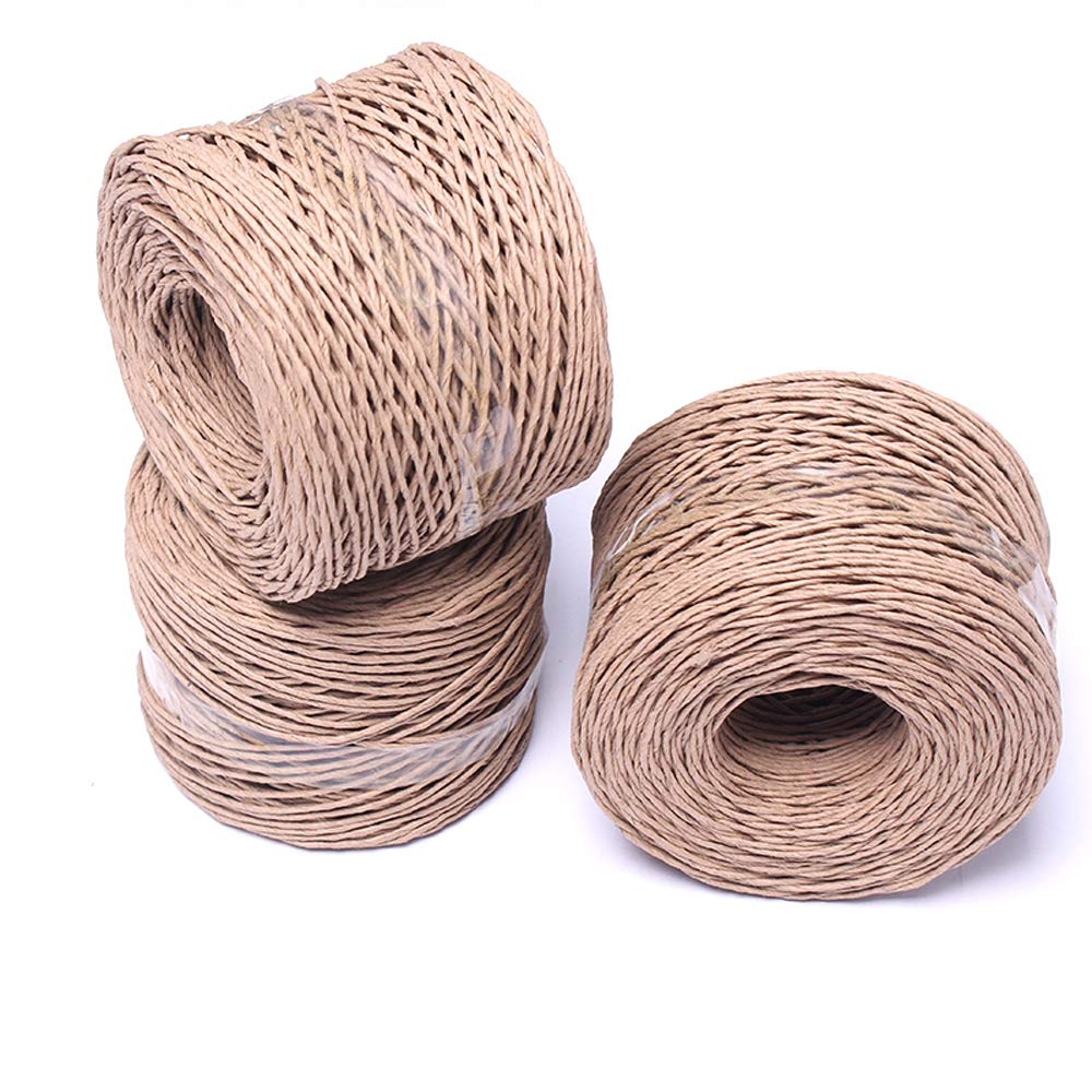 426feet 1.5mm Thick Paper Twine,Kraft Raffia Stripe Twisted Paper Ribbon Cord Rope String for DIY Arts /& Crafts Projects,Gift Wrap,Hanging Tags Wedding Home Decor