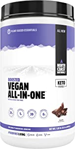 North Coast Naturals Boosted Vegan All in One – Plant Based Protein Powder, Superfood Antioxidant with Fruits and Veggies - 840g - Chocolate