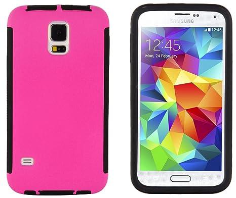 JAMMYLIZARD Carcasa para Samsung Galaxy S5 & S5 Neo – Carcasa rígida de protección integral dos y pantalla, color rosa fucsia y negro
