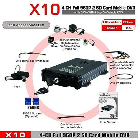 X10S 3G 4G para Android para iOS Live H.264 AHD 720P CMS Surveillance Mobile DVR 4 canales Mobile DVR para vehículos: Amazon.es: Bricolaje y herramientas