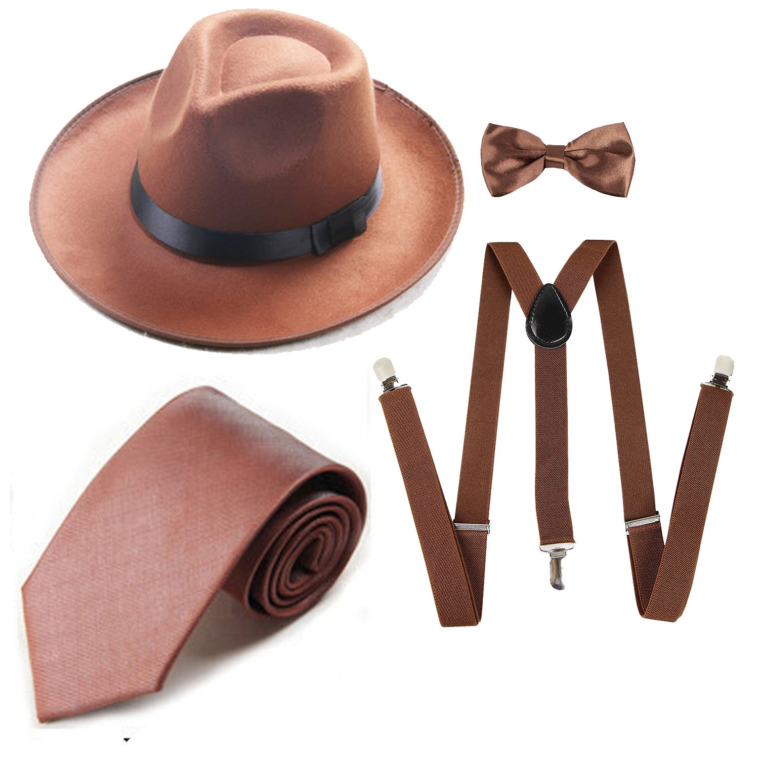 1920s Mens Accessory Set Manhattan Fedora Hat, Suspenders Y-Back Elastic Trouser Braces,Pre Tied Bow Tie,Gangster Tie (OneSize, Coffee)