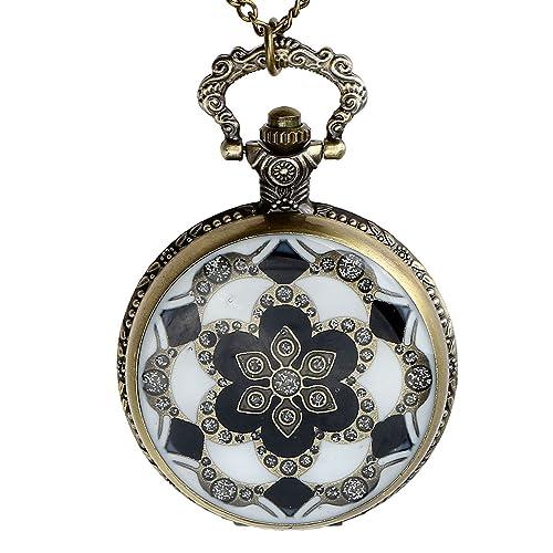 JSDDE Vintage Bronze Blumen Totem Taschenuhr Ketteuhr Analog Quarz Uhr mit Halskette Umhängeuhr Pock...