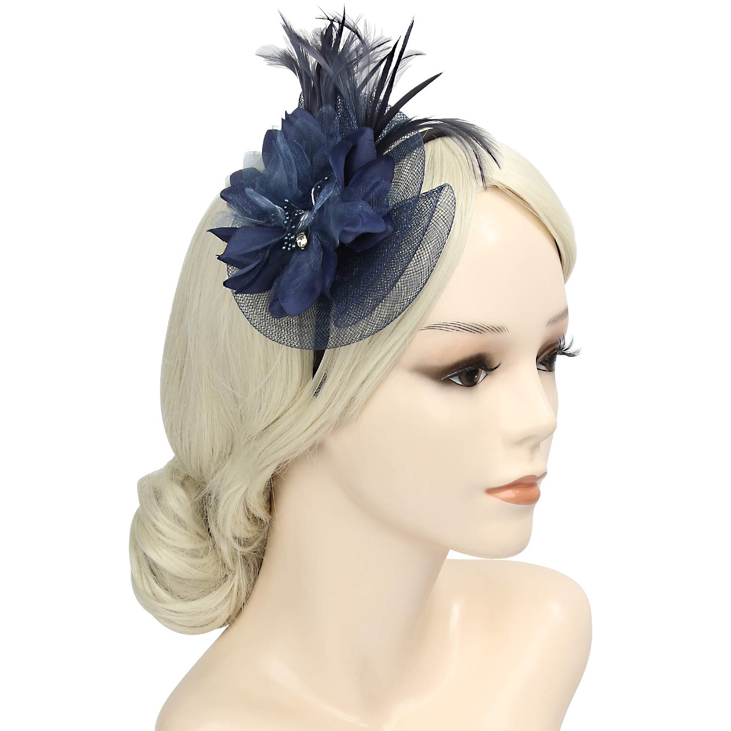 Fascinators Hat Sinamay Flower Mesh Feathers on a Headband and a Clip Tea Party Flower Derby Hats for Girls and Women 58312