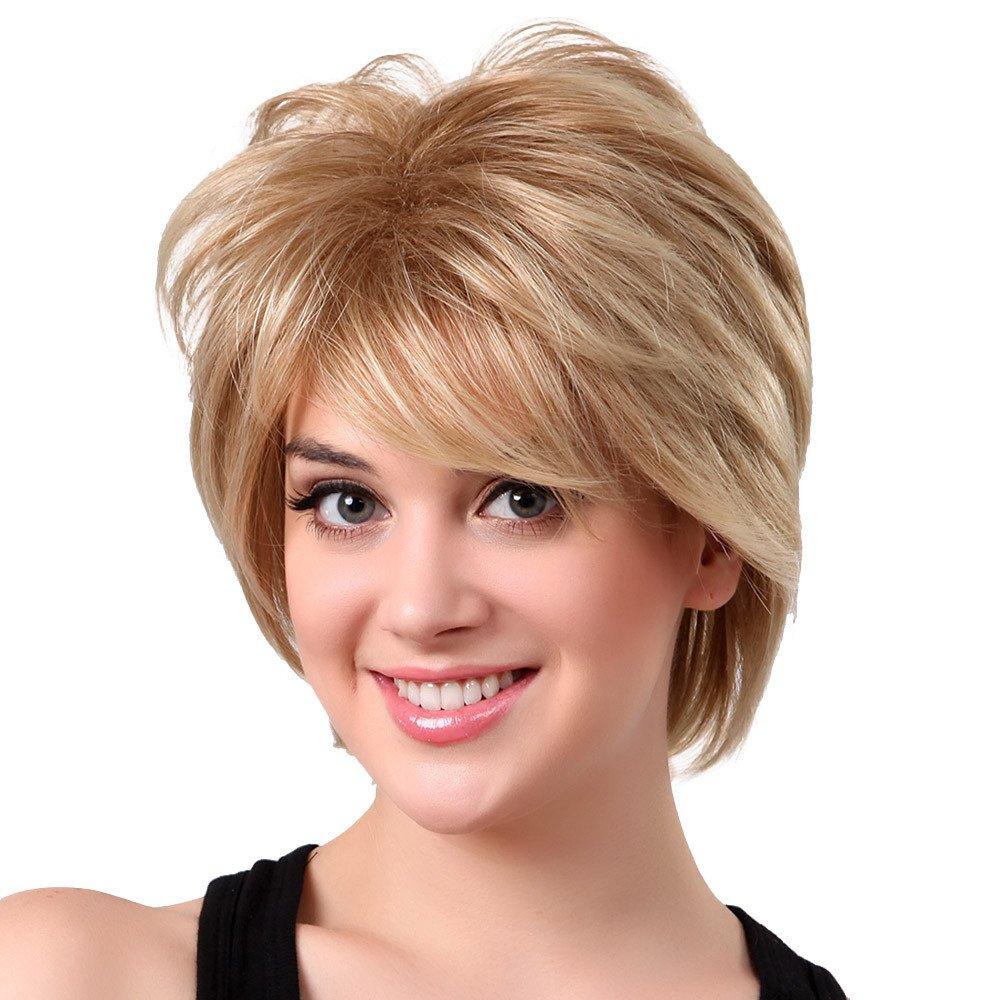 Wig,Baomabao Women Gold Natural Short Hair Wig