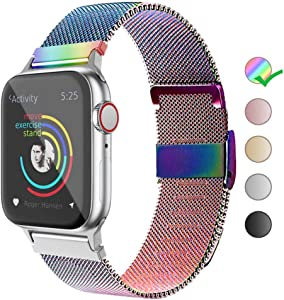 Compatible with Apple Watch Band 38/40mm 42/44mm, Belita Amy Stainless Steel Mesh Loop Replacement Parts for iWatch Band Series 5/4/3/2/1 (Colorful, 38/40mm)