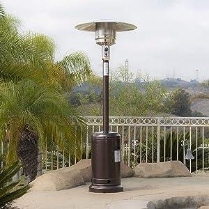 LYXY Outdoor Patio Heater with Wheel LP Propane Heat CSA Certified, 48,000BTU LP Patio Heater Outdoor Heaters Gas Patio Premium, Bronze