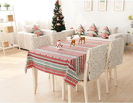 JCRNJSB® Mantel de árbol de Navidad de rayas de algodón y lino Mesa cuadrada Mantel