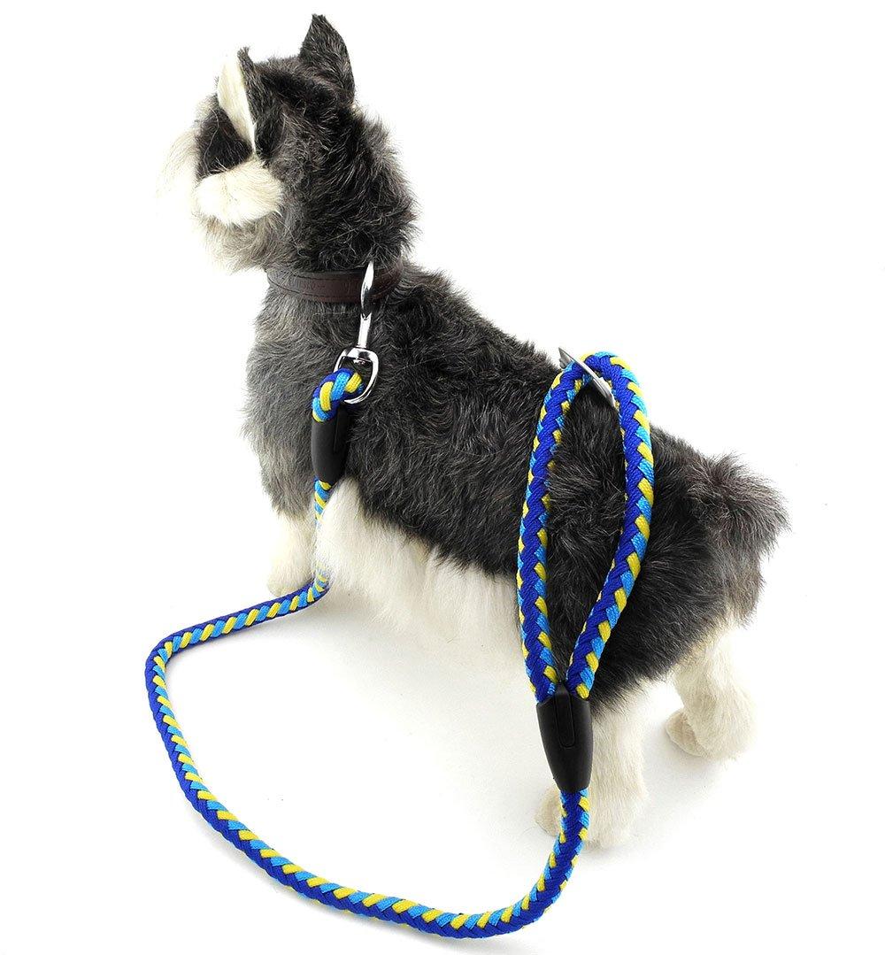 Zunea Dog Training Leash Durable Braided Strap Lead for Walking Small Dog 23.5inch - (Yellow, 18mm)