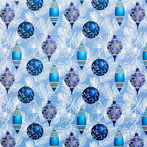 Hallmark Holiday Wrapping Paper Bundle with Cut Lines on Reverse, Blue and Silver (Pack of 4, 110 sq. ft. ttl.)