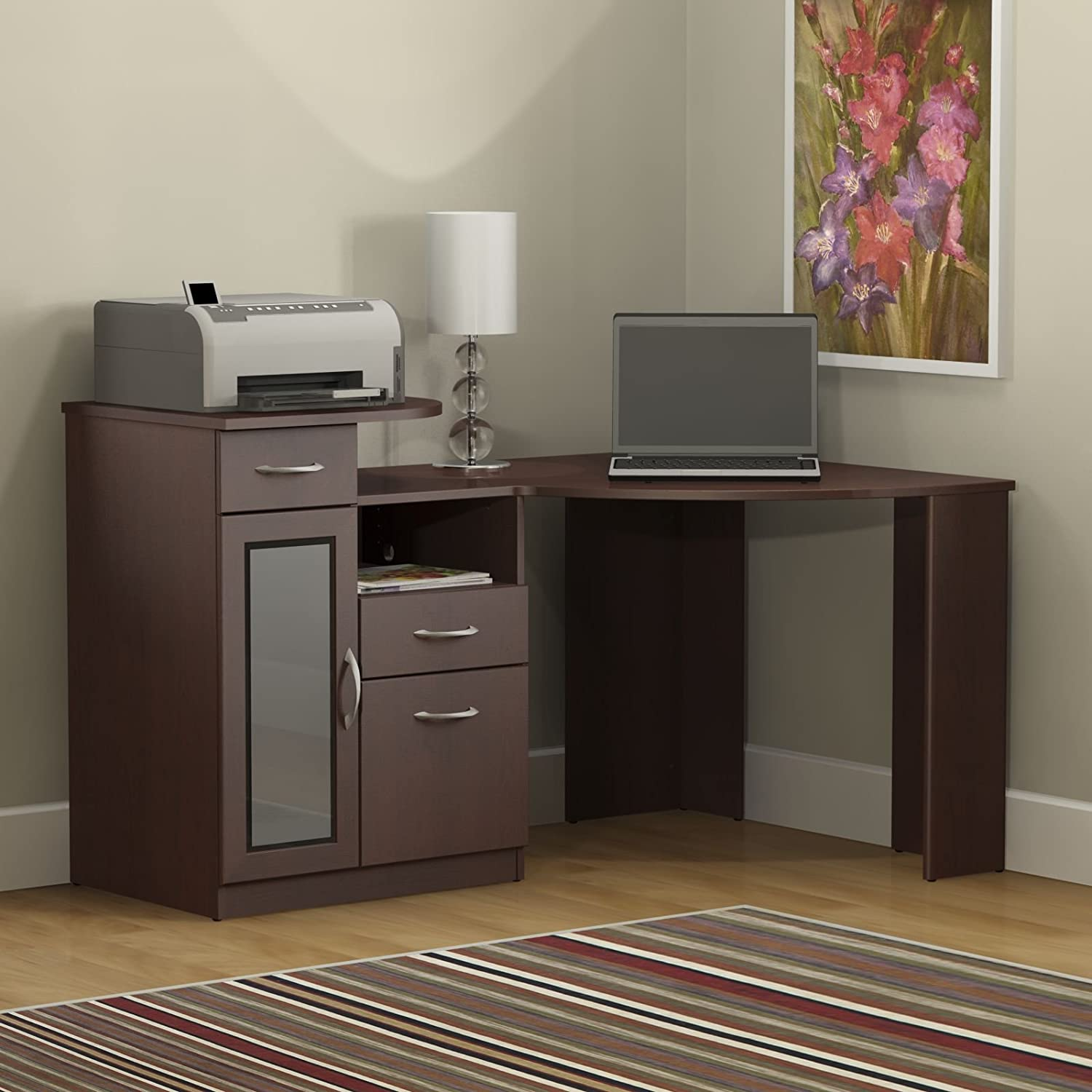 desk wood beautiful with storage all office black
