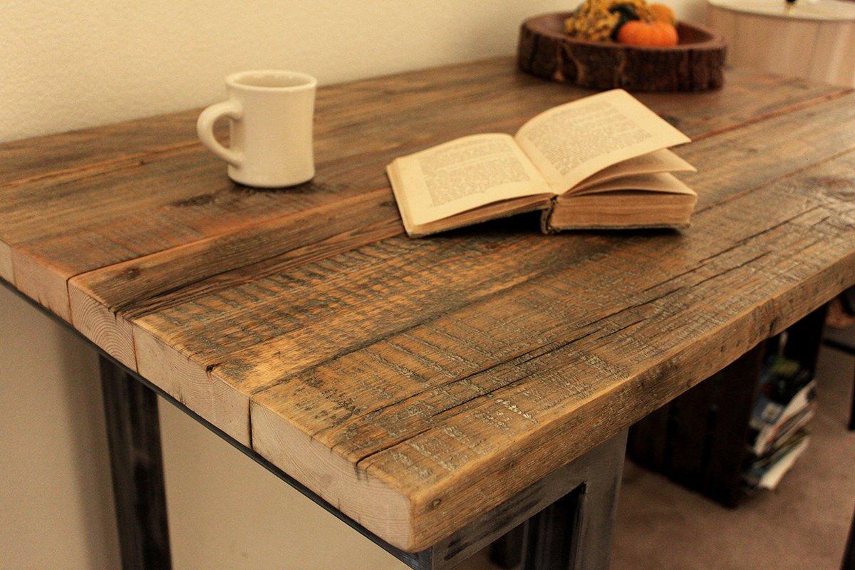Amazon.com: Reclaimed Wood Bar And Pub Table, Tall Cafe Table, Steel Legs:  Handmade