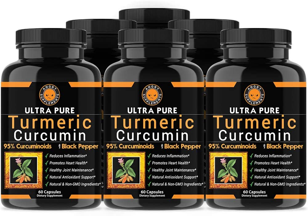 Angry Supplements Ultra Pure Turmeric Curcumin with BioPerine, Black Pepper Extract, 95% Curcuminoids, All Natural Powerful Antioxidant, Non-GMO, Joint Support, Heart Heath, Pain Relief (6-Pack)