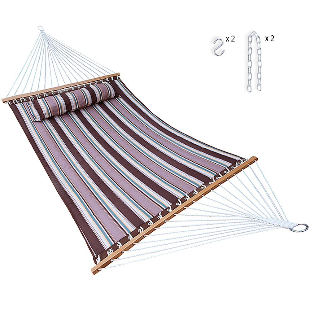 Hammock Quilted Fabric with Pillow Double Size Spreader Bar Heavy Duty Stylish for Outdoor Garden Patio, 14 FT, 2 Person 450 lbs Capacity(Brown Stripe)
