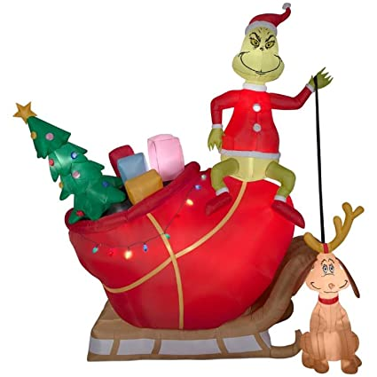 christmas inflatable 12 grinch on sleigh w dog max dr suess airblown by gemmy - Christmas Sled