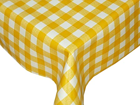 Attrayant Karina Home Yellow Gingham Vinyl Table Cover Tablecloth 200cm X 138cm