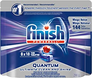 Finish Dishwasher Detergent, Quantum Max, Fresh, Gigapack, 144 Tablets (8x18ct), Shine and Glass Protect
