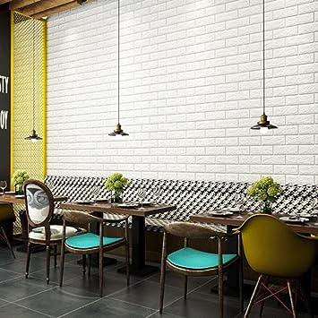 Tapete Ziegel 70x77x1cm Weiß Fliesenaufkleber Steinwand DIY Wasserdicht  Verdickt Für Wohnzimmer/Balkon/Schulen 2