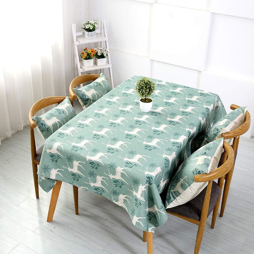 DJUX - Mantel de algodón y Lino para Restaurante, tamaño pequeño, Cuadrado, protección Multiusos, para Picnic, Fiesta, 85 x 85 cm, 140 x 230 cm, C, 140cm*100cm