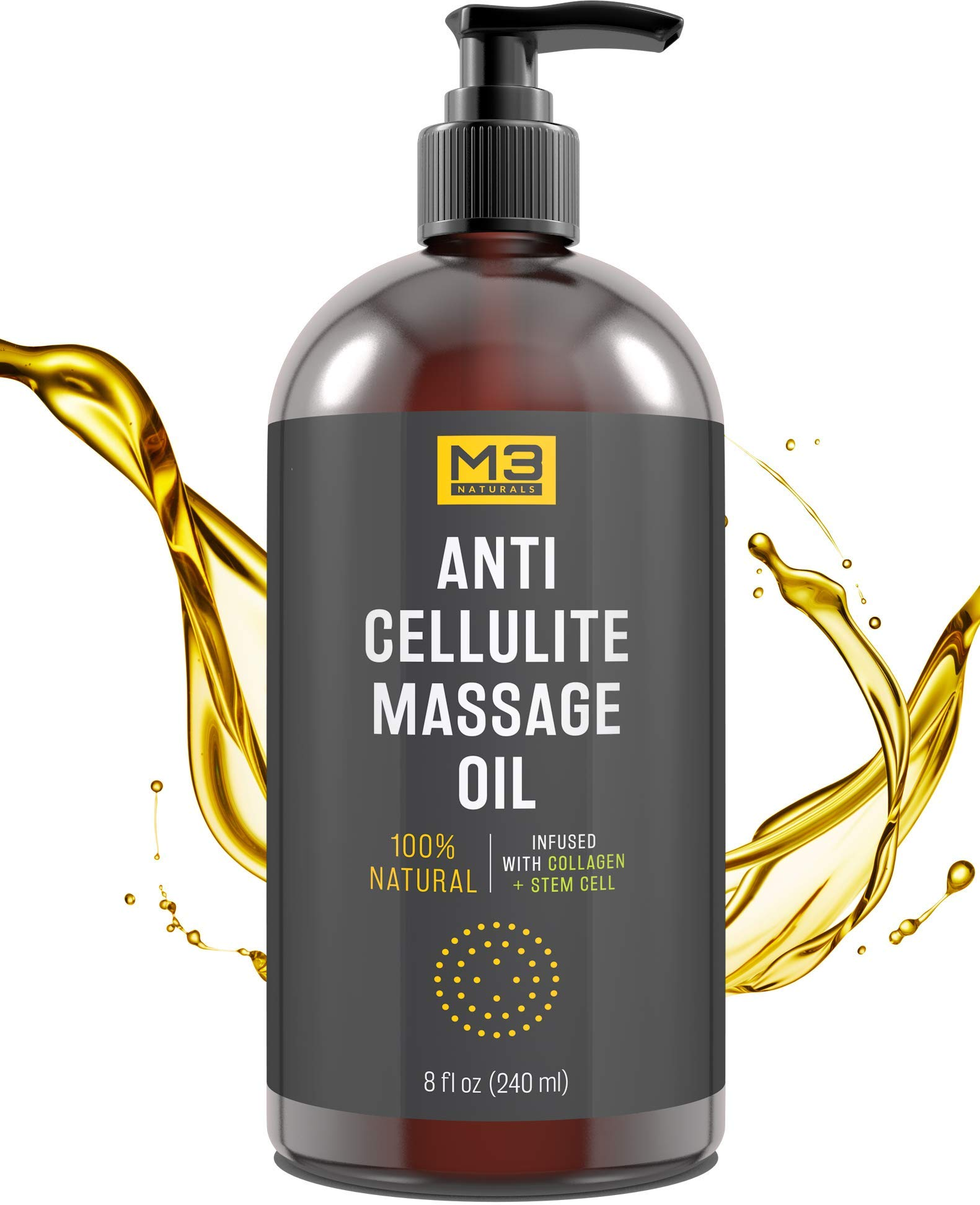 M3 Naturals Anti Cellulite Massage Oil Infused with Collagen and Stem Cell Natural Essential Oil Lotion Firm Tighten Skin Tone Unwanted Fat Tissue Stretch Mark Removal Cream Massager Fascia Blaster by M3 Naturals